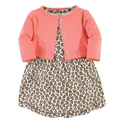 Touched by Nature Baby and Toddler Girl Organic Cotton Dress and Cardigan 2pc Set, Leopard