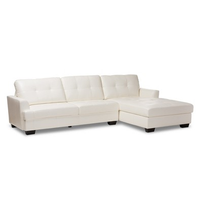 Adalynn Faux Leather Upholstered Sectional Sofa White - Baxton Studio