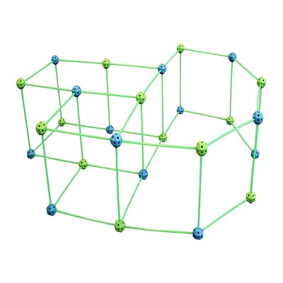 Funphix Glow in the Dark Jumbo Poles and Balls Indoor and Outdoor Fort Building Construction Toy Play Kit, 154 pieces, Blue and Green