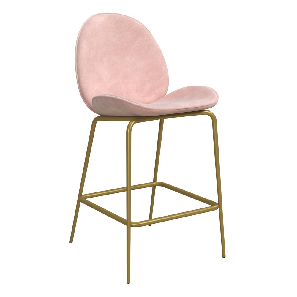 Image of Astor Velvet Upholstered Counter Stool - Pink - CosmoLiving by Cosmopolitan
