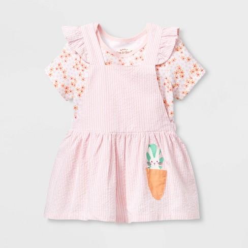 Baby Girls' Short Sleeve Skirtall Top & Bottom Set - Cat & Jack™ Pink Newborn - image 1 of 2