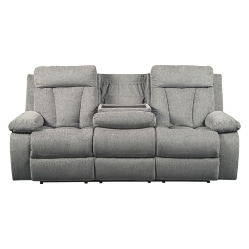 Mitchiner Reclining Sofa With Drop Down Table Light Gray Signature