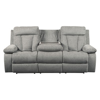 Mitchiner Reclining Sofa With Drop Down Table Light Gray   Signature Design  By Ashley