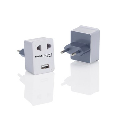 Travel Smart European Adapter with Outlet and USB port
