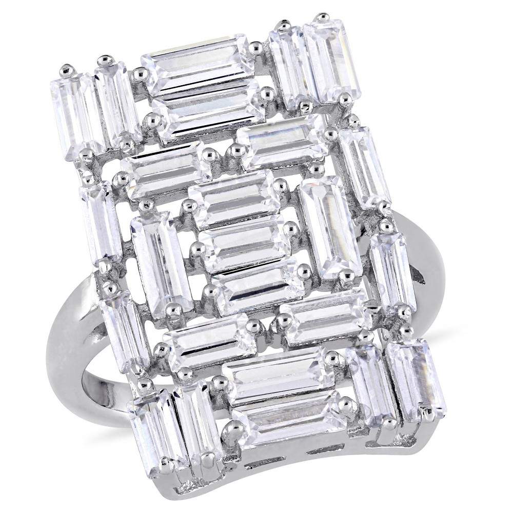 3.5 CT. T.W. Cubic Zirconia Mosaic Geometric Ring in Sterling Silver - (9), White