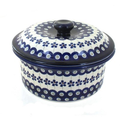 Blue Rose Polish Pottery Flowering Peacock Round Baker w/ Lid