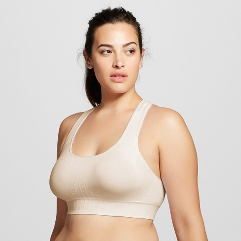 Women's Plus Size Medium Support Seamless Racerback Sports Bra - C9 Champion® Soft Taupe 1X - image 1 of 2