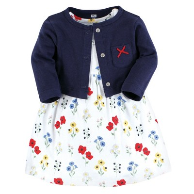 Hudson Baby Baby and Toddler Girl Cotton Dress and Cardigan Set, Wildflower