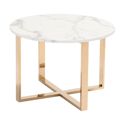 """Modern 24"""" Round Faux Marble and Stainless Steel End Table - Gold - ZM Home"""