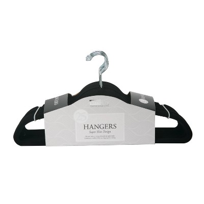 Simplify 25pk Slim Velvet Suit Hangers Black
