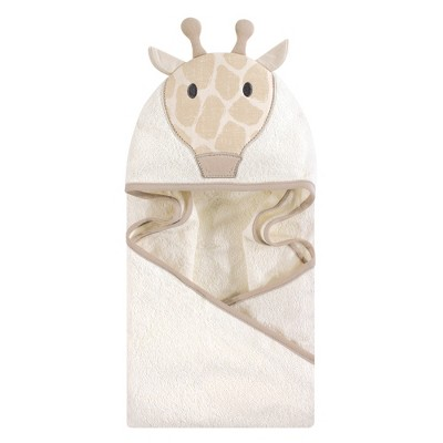 Hudson Baby Infant Cotton Animal Face Hooded Towel, Modern Giraffe, One Size