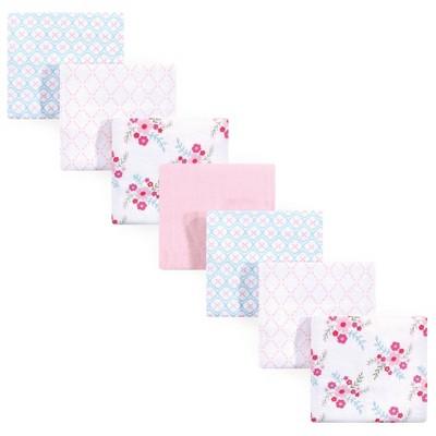 Luvable Friends Unisex Baby Cotton Flannel Receiving Blanket - Floral One Size 7pc