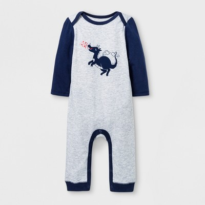 Baby Boys' Long Sleeve Romper - Cat & Jack™ Gray Newborn