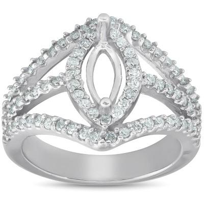 Pompeii3 7/8 Ct Diamond Engagement Marquise Setting 14k White Gold Halo Mounting