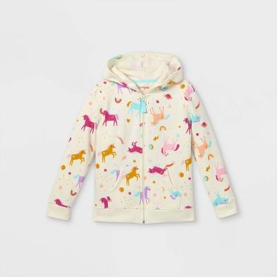 Girls' Printed Zip-Up Fleece Hoodie - Cat & Jack™