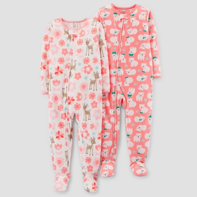 Baby Girls' 2pk Fleece Fair Isle & Polar Bears Footed Pajama Set - Just One You™ Made by Carter's Tan 12M
