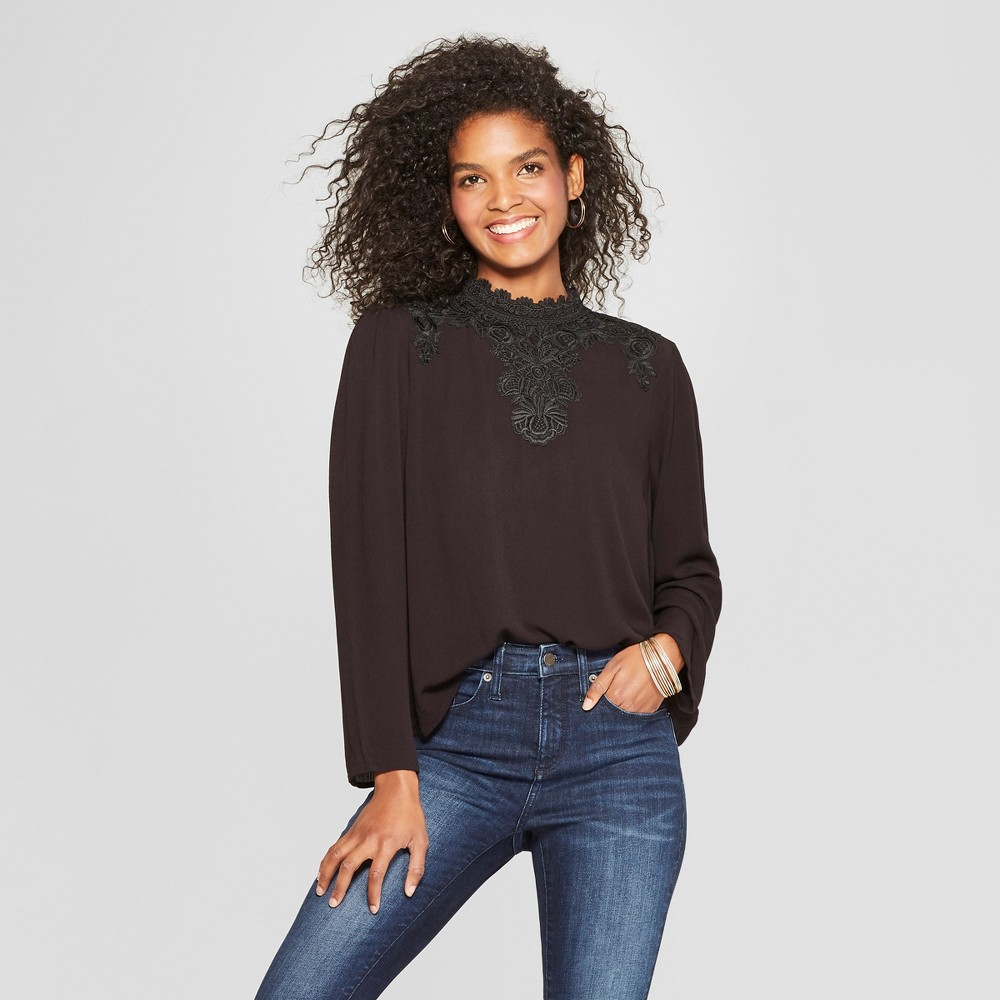 Women's Long Sleeve Woven Top with Lace Neck - Xhilaration Black M