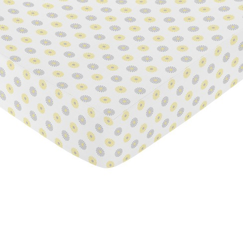 Sweet Jojo Designs Mod Garden Floral Fitted Crib Sheet - Gray-Yellow - image 1 of 1