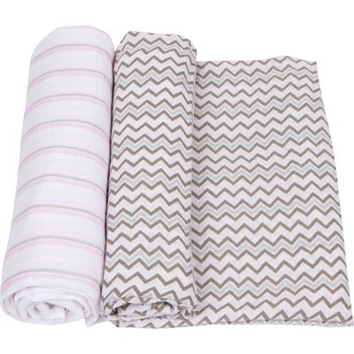 MiracleWare Muslin Swaddle Pink/Gray - 2pk