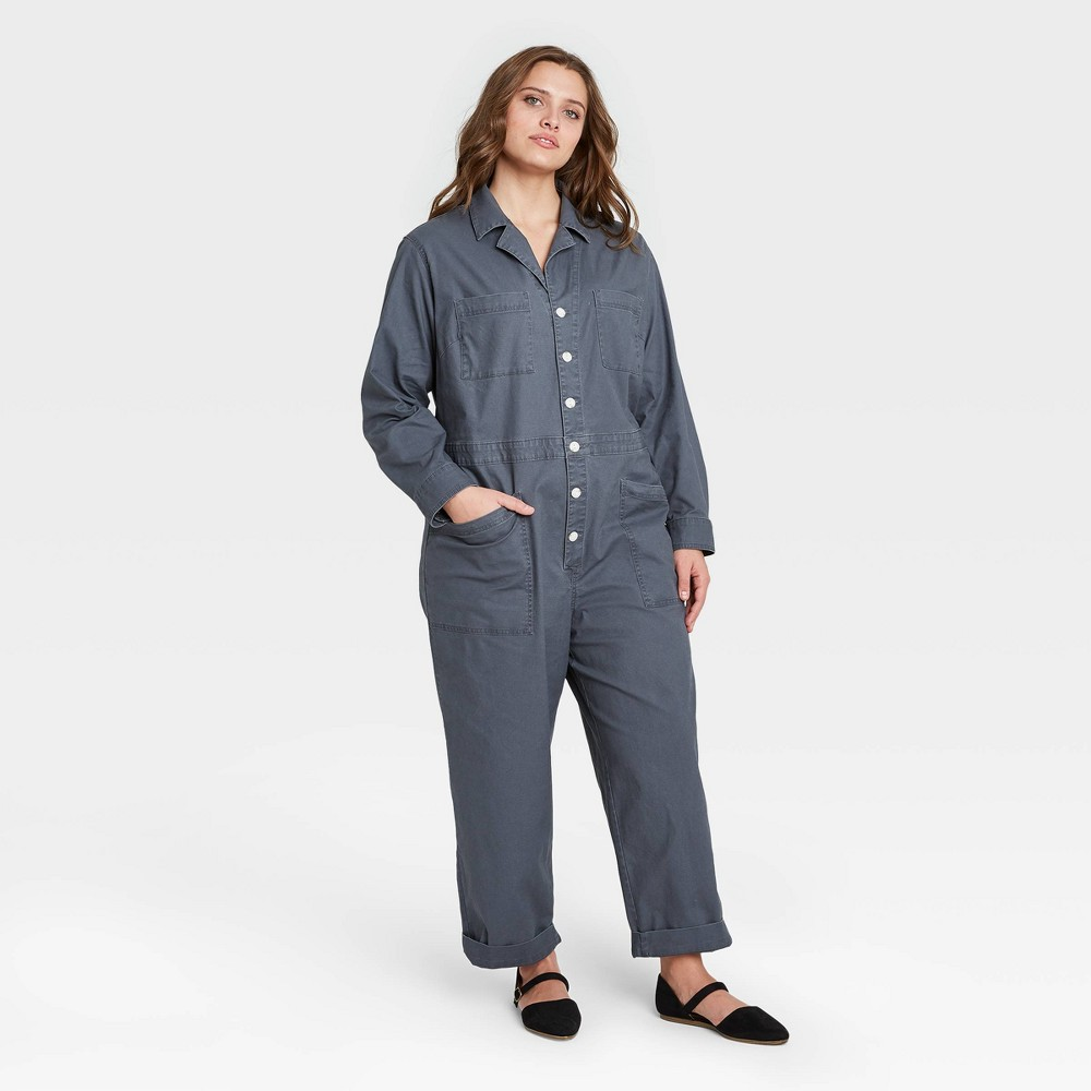 Cheap Women's Plus Size Long Sleeve Collared Boilersuit - Universal Thread™