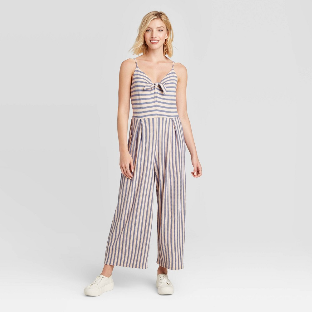 Women's Striped Sleeveless V-Neck Tie Front Knit Cropped Jumpsuit - Xhilaration Gray/Pink XL, Women's was $29.99 now $20.99 (30.0% off)
