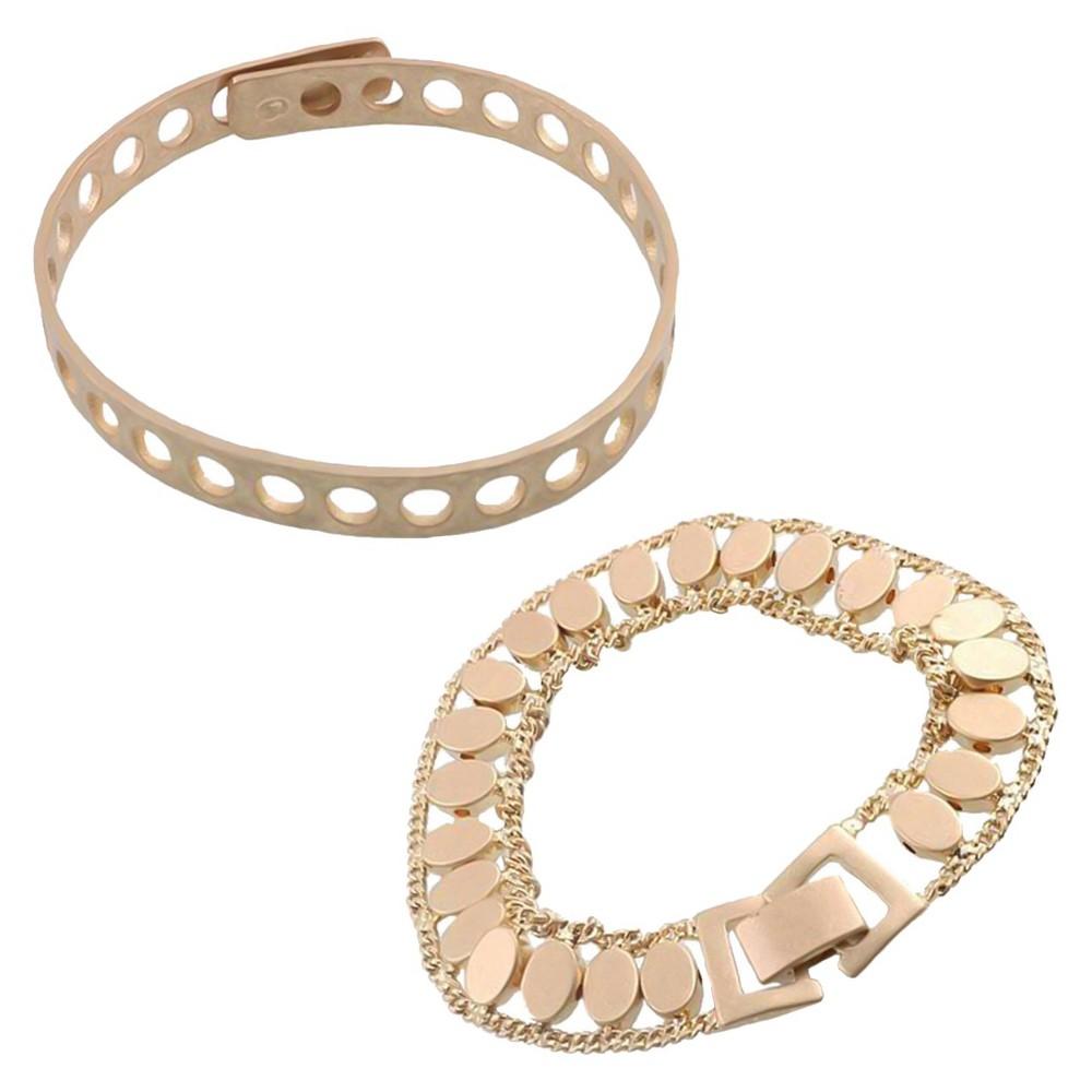 Women's 2 pc Bracelet set - Gold, Medium Gold