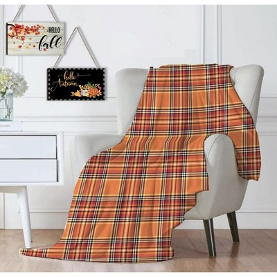 Kate Aurora Ultra Soft & Cozy Oversized Plaid Autumn Halloween Harvest Plush Accent Throw Blanket - 50 in. W x 70 in. L
