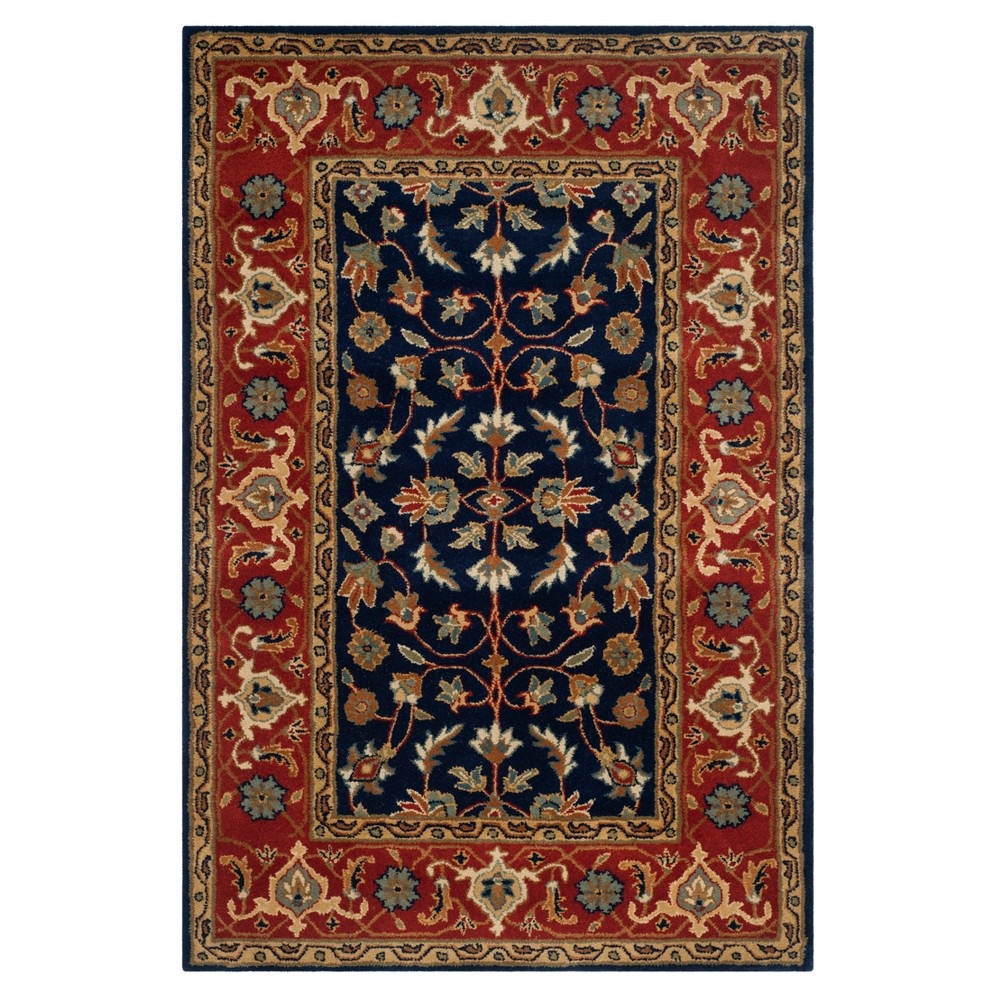 Navy/Rust Floral Tufted Area Rug 6'X9' - Safavieh, Red Blue