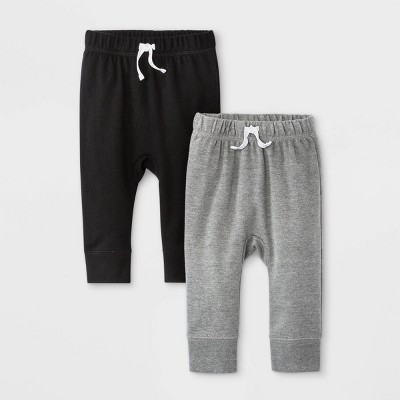 Baby Boys' 2pk Fench Terry Jogger Pull-On Pants - Cat & Jack™ Black/Gray 0-3M