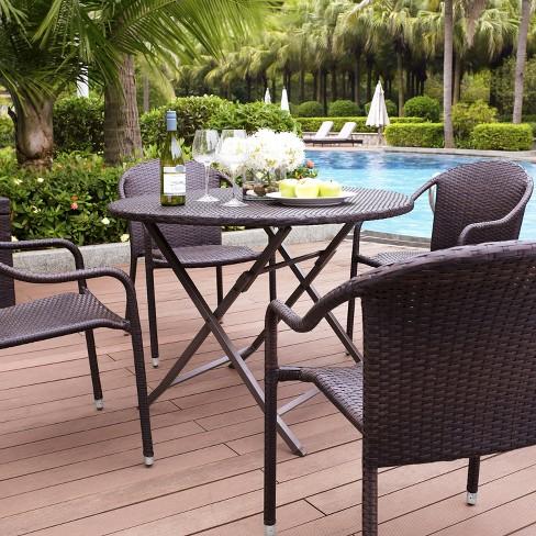 Palm Harbor 5 Piece Wicker Patio Dining Furniture Set