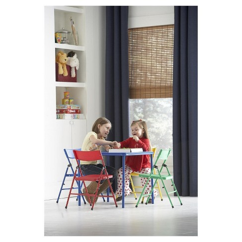 c3b6c5bd365 Kids 5 Piece Folding Chair And Table Set - Red Yellow Blue - Cosco ...