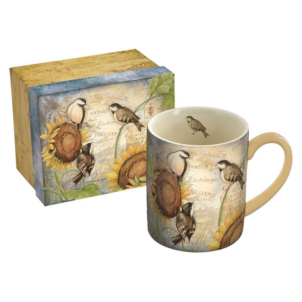 Image of Lang Ceramic Sunflower Birds Mug 14 oz, Multi-Colored