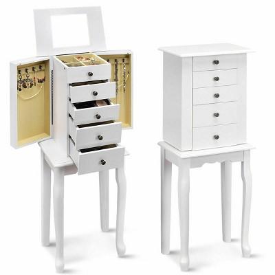 Costway Jewelry Cabinet Storage Chest, Mirror With Jewelry Storage Target