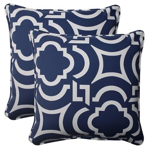 Outdoor 2 Piece Square Toss Pillow Set Bluewhite Geometric Target