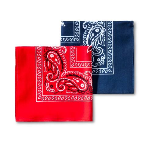 Men's 2pk Bandana Set - Goodfellow & Co™ Red/Blue One Size - image 1 of 2