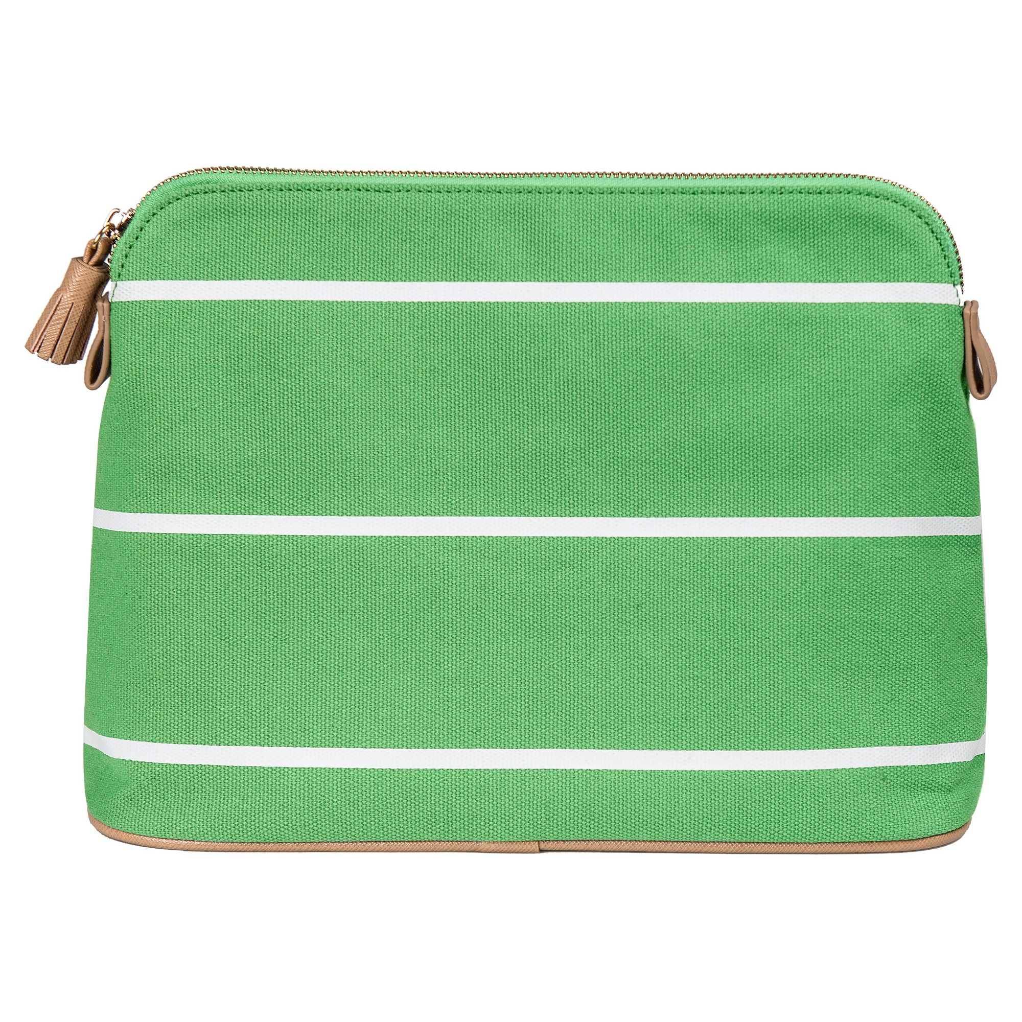 Personalized Green Striped Cosmetic Bag - G
