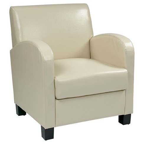 Eco Leather Club Chair Cream/Espresso - Office Star - image 1 of 7