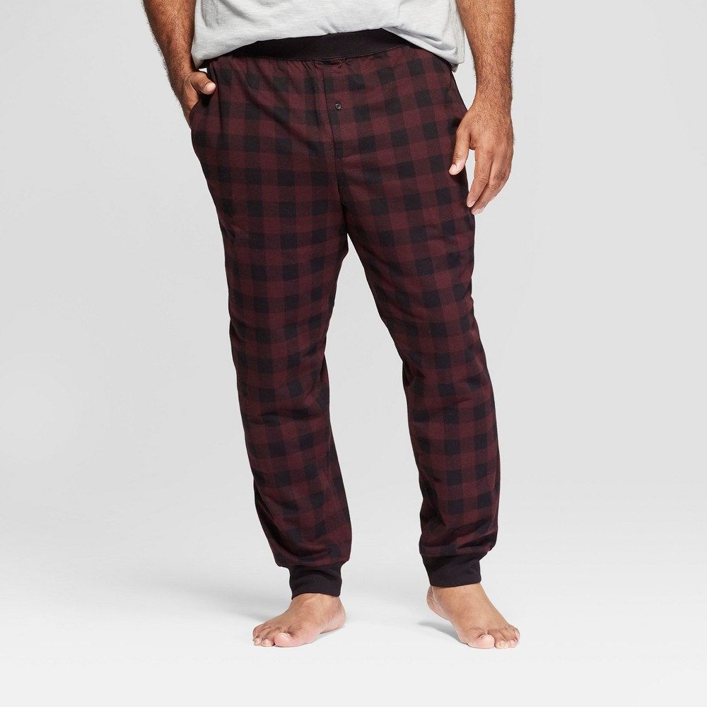 Men's Big & Tall French Terry Jogger Pajama Pants - Goodfellow & Co Red/Black 2XB