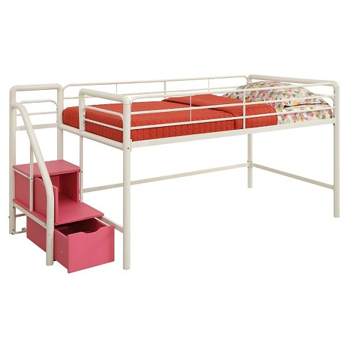 Twin Junior Loft Bed With Storage Steps White Pink Target