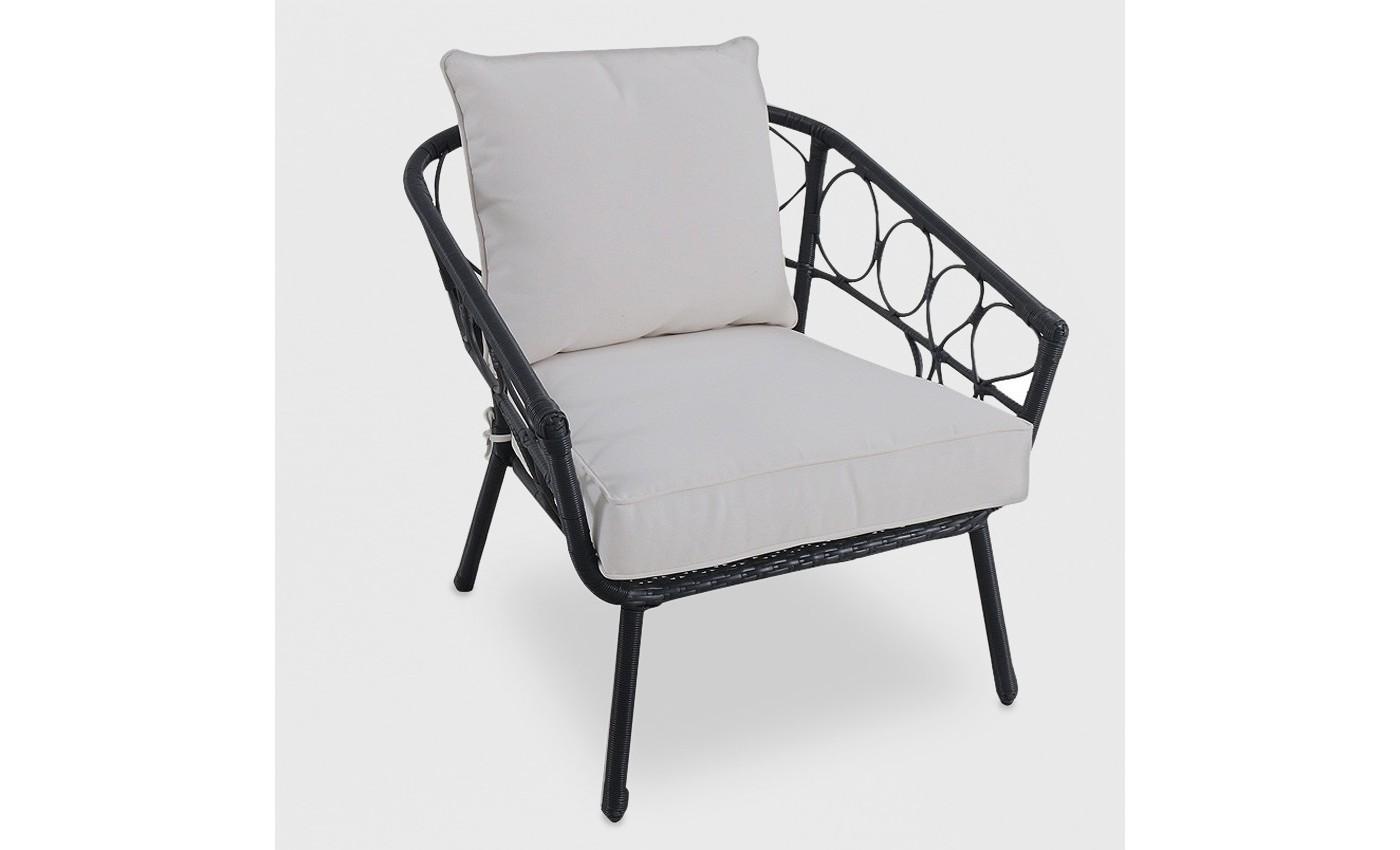 Britanna Wicker Patio Stack Chair Black - Opalhouse™ - image 1 of 2