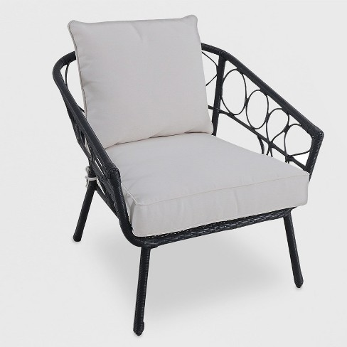 Britanna Wicker Patio Stack Chair Black - Opalhouse™ - image 1 of 2
