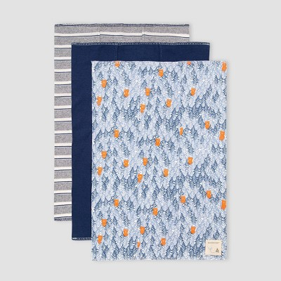 Burt's Bees Baby® Baby Boys' 3pk Organic Cotton Clustered Bear Burp Cloth - Navy