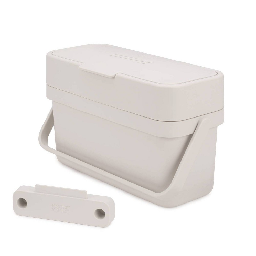 Joseph Joseph Compo Easy-Fill Compost Bin Food Waste Caddy with Adjustable Air Vent, 1 gallon / 4 liters, Stone