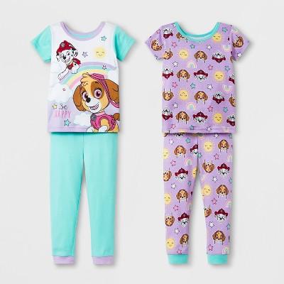 Toddler Girls' PAW Patrol 4pc Pajama Set - Aqua/Purple 2T