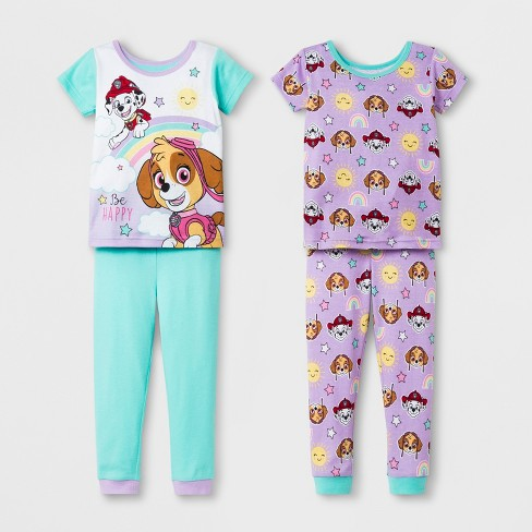 f60ab8fdb43d Toddler Girls  PAW Patrol 4pc Cotton Pajama Set - Aqua Purple   Target