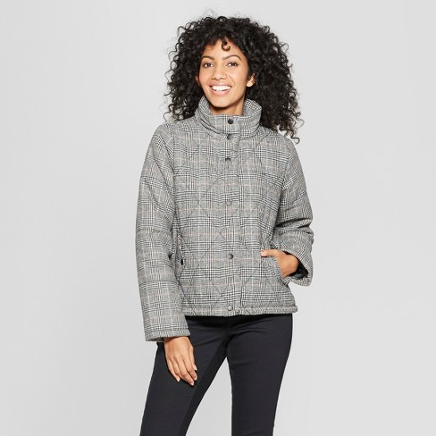 Women's Plaid Puffer Jacket - A New Day™ Black - image 1 of 2