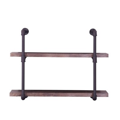 Tarian Industrial Wall-Mounted Shelf Dark Brown - Christopher Knight Home