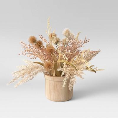 """11"""" x 9"""" Artificial Fluffy Grass Arrangement in Wood Pot - Threshold™"""