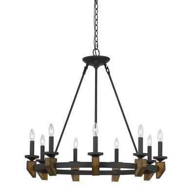 """33""""x33"""" Metal/Wood Cruz Chandelier Dark Bronze - Cal Lighting"""