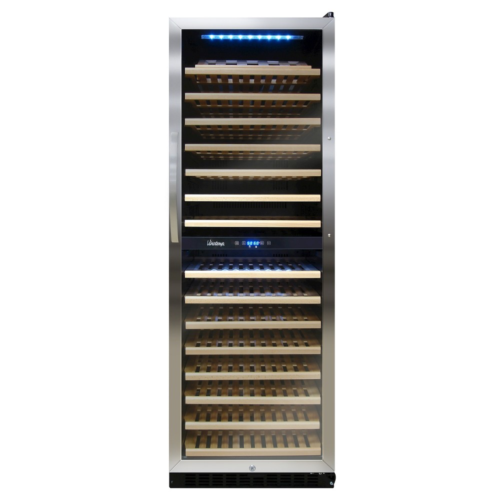 Vinotemp 155 Bottle Dual Zone Wine Cooler – Silver VT-155SBW 50027884